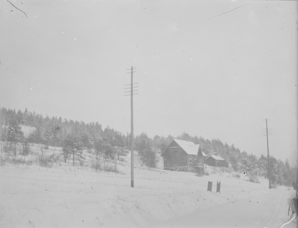 Vinterlandskap ved Linderud Gård.