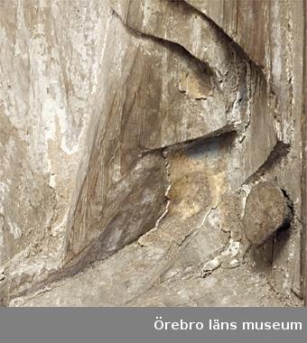 Jungfru Maria, figur ur altarskåp, framställande Marias kröning till himmelrikets drottning. Sittande figur med mantel svept omkring sig. Ansikte och händer borta.1425-1450 Tyskt - lubeckskt arbete. Publ. Lindsten A S Sköllerstabygden 1 s 181ff, Kumla 1978.