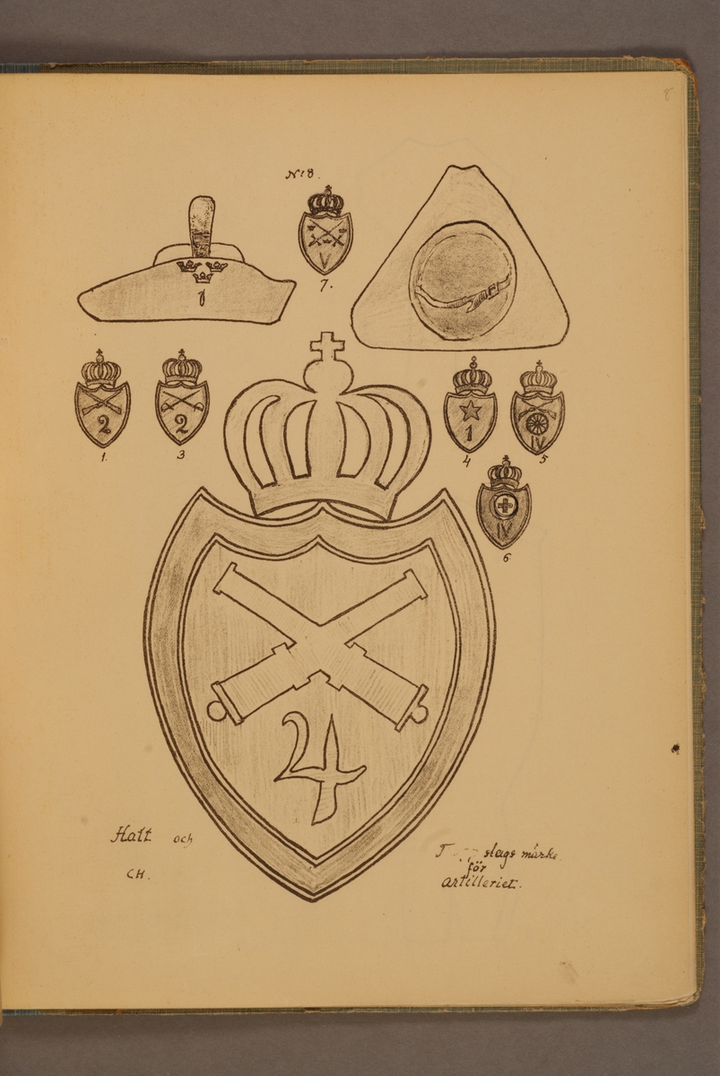 Hatt m/1906 och truppslagsmärken för artilleriet. Illustration av Carl Hellström i skriften Huvudsakliga innehållet af Generalorder den 26 okt. 1906 n:r 1170-1176.