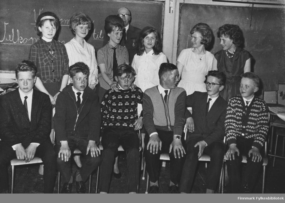 7. klasse ved Kiberg skole 1965/66.