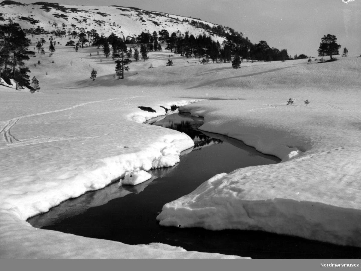 elv bekk snø vinter vår  - Datering er ukjent, men trolig omkring 1950 til 1960. Fra Nordmøre museums fotosamlinger, Myren-arkivet
