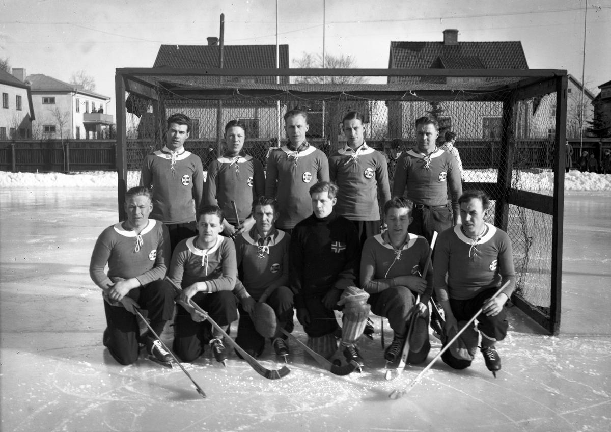 Norska bandylandslaget på Tingvalla 1936.