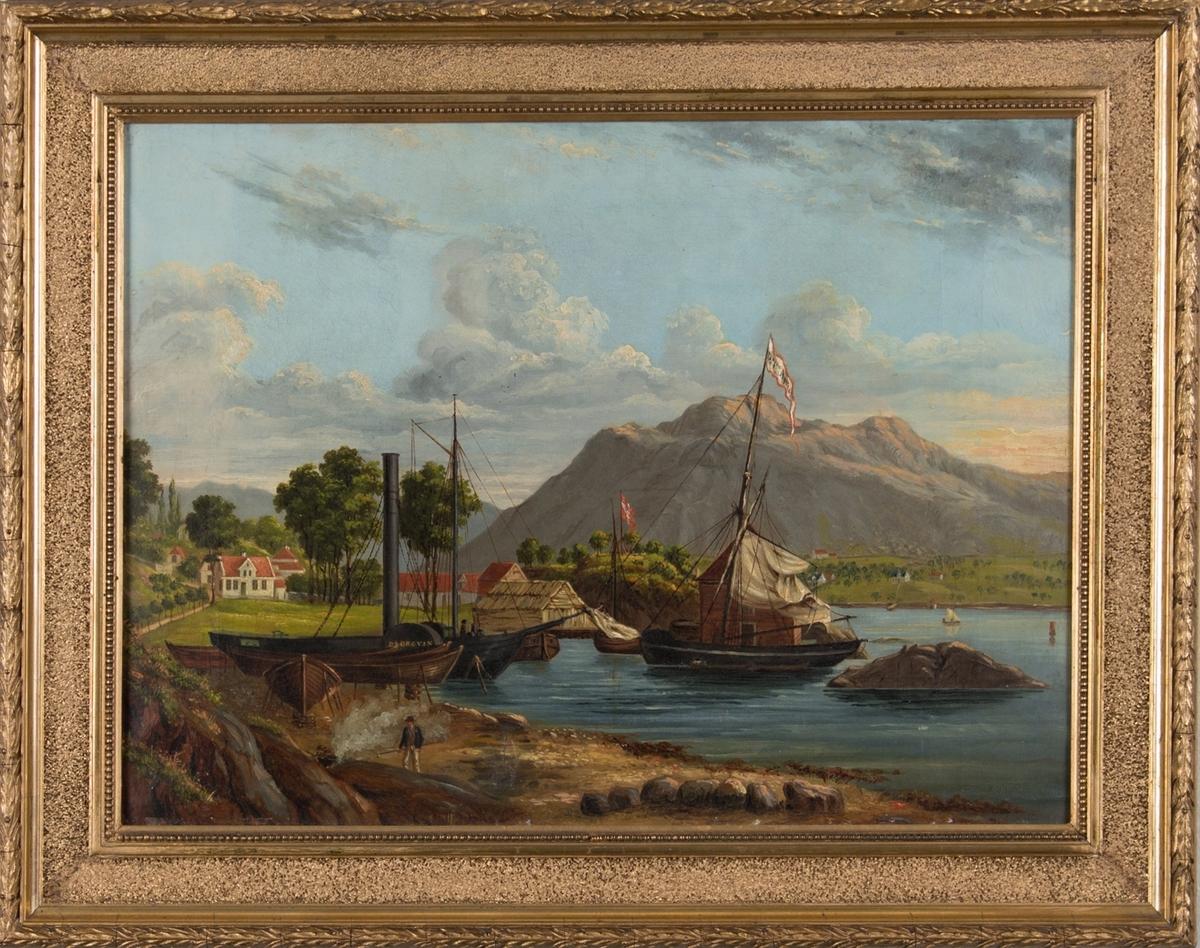 Dokken i Bergen ca. 1840 med hjuldampskipet BJØRGVIN og en jakt liggende ved kai. Ser to menn på land som holder på med ett båt og trolig tjærebrenning av skrog av mindre fartøy som er landsatt.