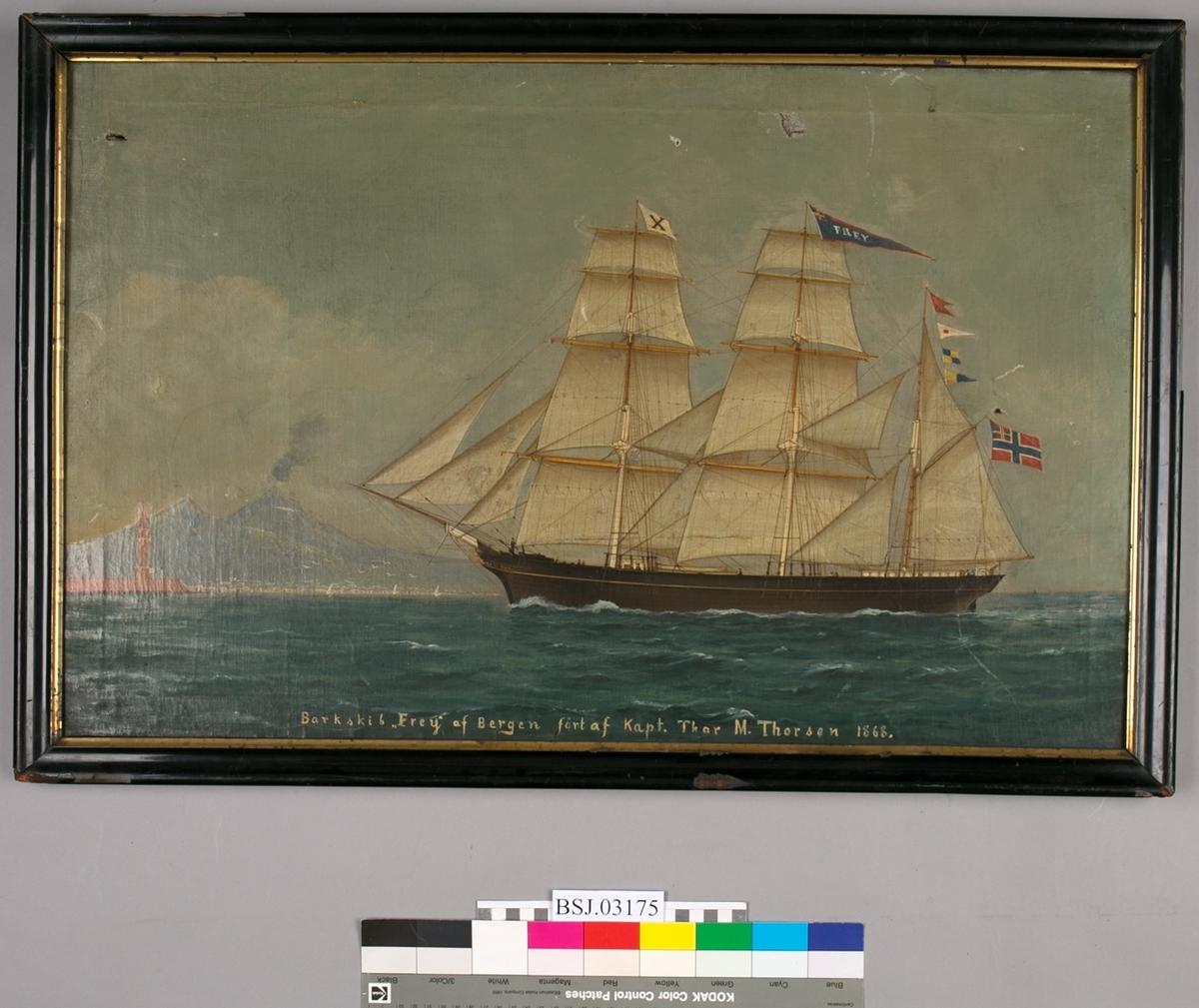 Skipsportrett  av barken FREY malt på kartong med nasjonalitetsmerke malt på skutesiden.