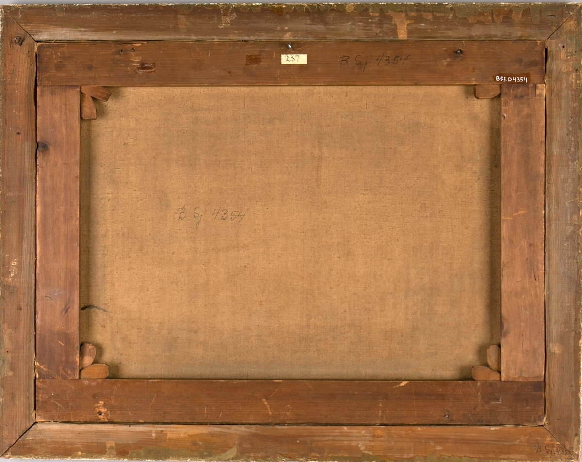 Briggen LAGERTHA med fullt brasede seil. I bakgrunnen bratte klipper (Dover?). Mindre seilskip i bakgrunnen. Unionsflagg (Sildesalaten) i framre mast og i akter, smat vimpel med skipets navn.