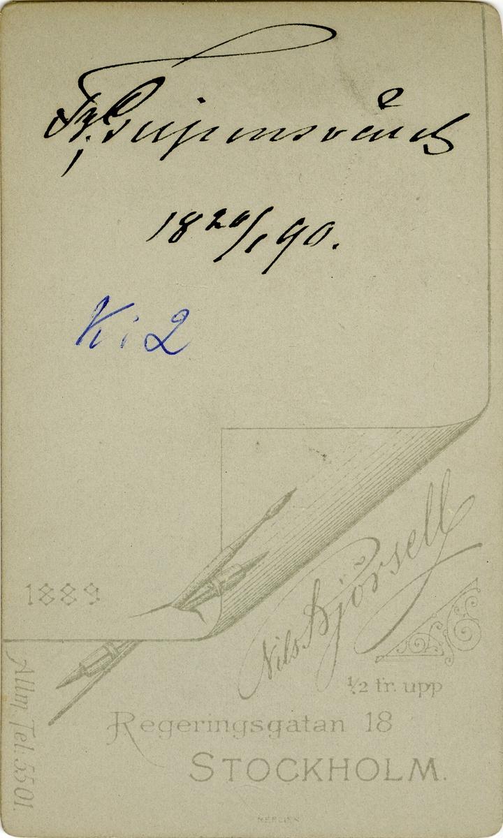 Porträtt av Fredrik Gripensvärd, major vid Livregementets dragonkår K 2. Se även bild AMA.0007426.
