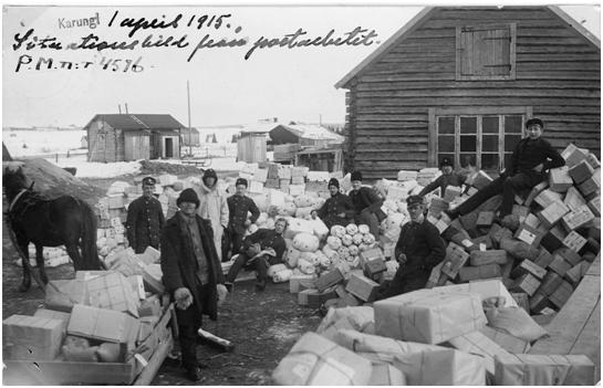 Den tillfälliga poststationen Karungi Utrikes vintern 1915.