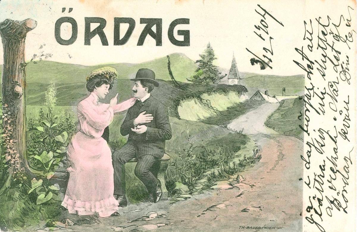 """Vykort skickat till Kristina Andersson, född 1865 i Böda, syster till N J Andersson, när hon bodde i USA. Det är skrivet av Edvard Nilsson i Böda På sidan av kortet står skrivet: """"3/12 1904. Ja i dag börjar det att bättra sig uti sluttet af veckan. När det är lördag kväll. Din E N."""