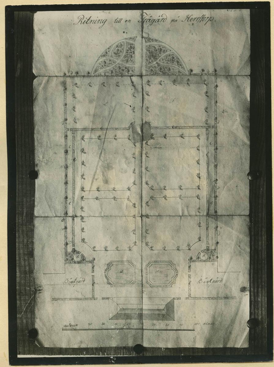 Herrestorps gårdarkiv. Ritning till park av kunglig sekreterare Carl Jacob Drangel c:a 1800.