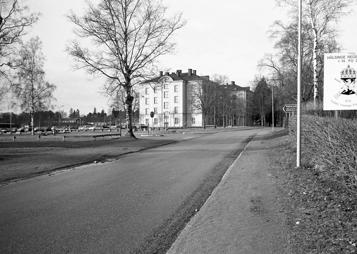 Hälsinge Regemente I 14, Kungsbäcksvägen, Gävle. 1990