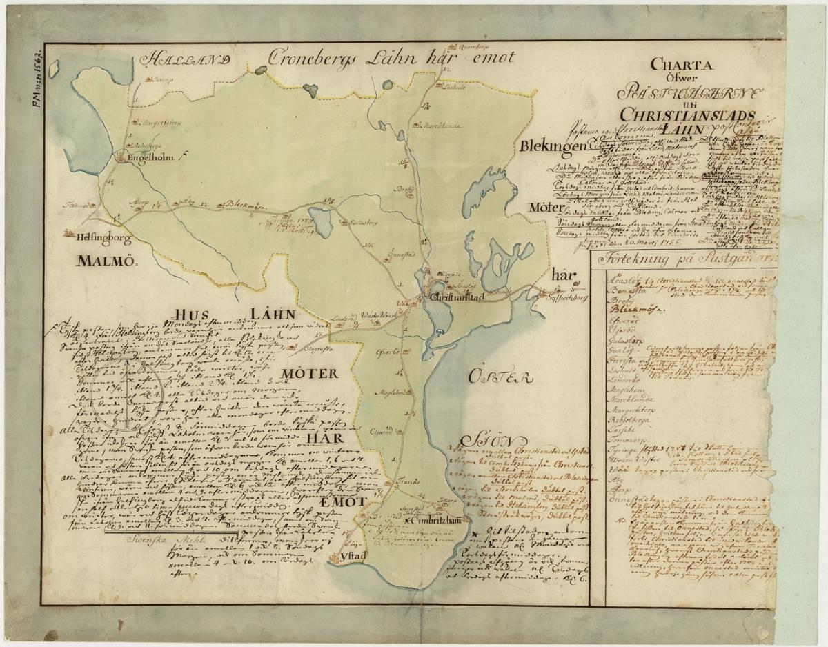 Postkarta över postvägarna i Kristianstads län, Skåne, under 1700-talets mitt. Kartan visar endast Kristianstads län, de angränsande länen namnges endast vid sidan om. En förteckning över postgårdar finns i nedre högra hörnet. I övrigt är kart bilden översållad med anteckningar av postal natur. Kartan är ritad och kolorerad för hand.