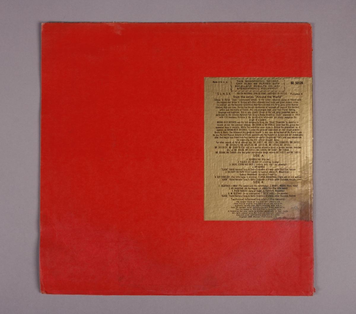 "Grammofonplate i svart vinyl og plateomslag i tykk papp. Plata ligger i en uoriginal papirlomme stemplet ""Angel Records""."