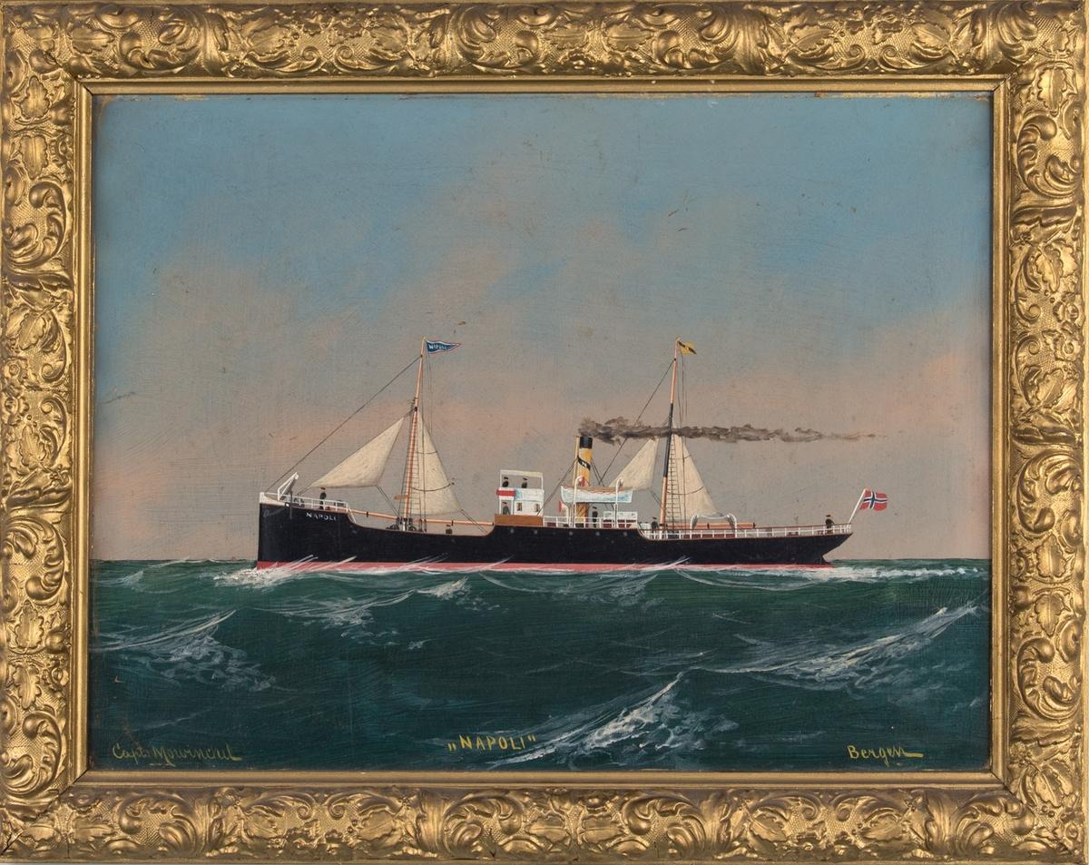 Skipsportrett av DS NAPOLI under fart i åpen sjø med seilføring. Fører norsk flagg akter, vimpel med skipets navn og rederiflagg. Ser tilsammen 8 personer på skipets dekk og bro.