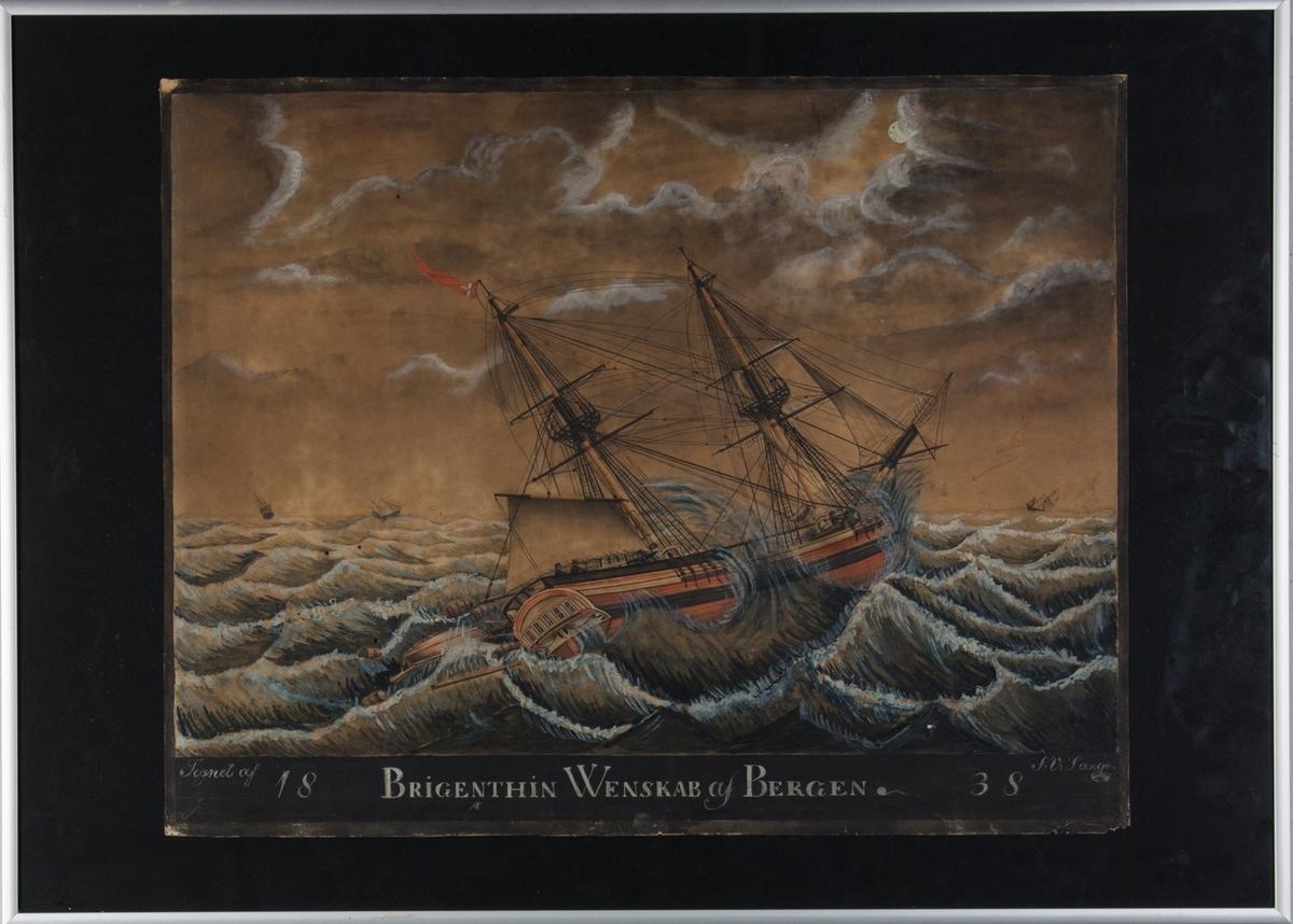 Skipsportrett av brigg WENSKAB med delvis revet seil på opprørt hav. Ser tønner og lettbåt som har falt over bord samt mannskap på dekk. Ser tre seilskip i horrisonten.
