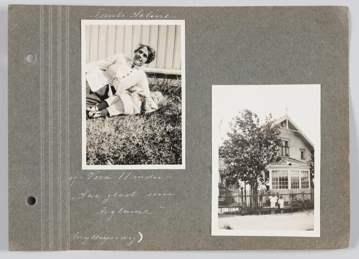 Bilde til venstre: Amanda Celine Søderbom med Vera Holck f.Michelsen. Bilde til høyre:Erling og Arvid Michelsen utenfor Villa Lund på Strømmen. Begge bilder september 1919.