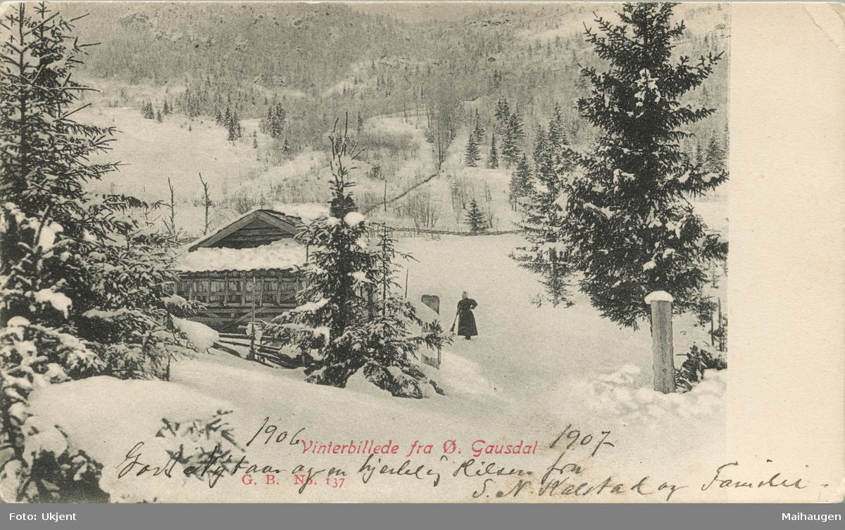 Postkort: Vintermotiv fra Østre Gausdal -  Rannei-stuggua, som var en liten boplass under Engeland gård
