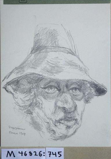 Blyertsteckning. Porträtt föreställande äldre kvinna i solhatt.