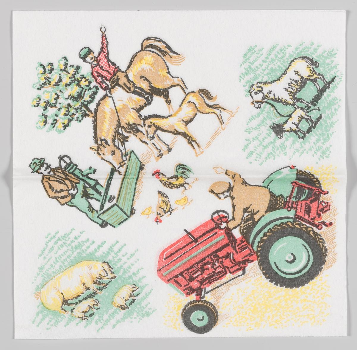 Scener fra en bondegård. En gutt sitter på en hest og ved siden av står et føll. Hester drikker fra et vanntrau. En mann pumper vann opp i vanntrauet til hesten. En hane, en høne og et par kyllinger løper rundt på bakken. Et får står sammen med lammet sitt. En purke går sammen med to grisunger. En mann kjører på en traktor og vinker.