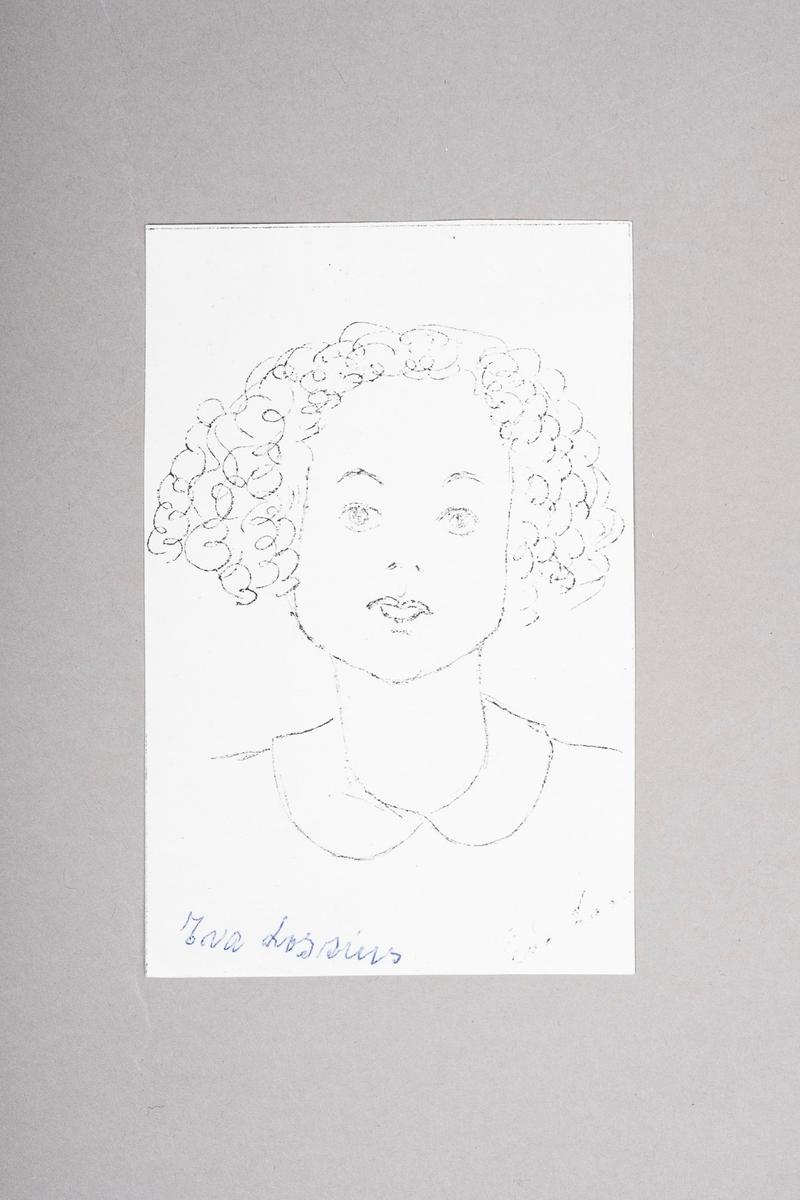 Kopi av portrett-tegning av Eva Lossius. Portrettet (originalen) er tegnet med blyant eller penn, og er i svart-hvitt.