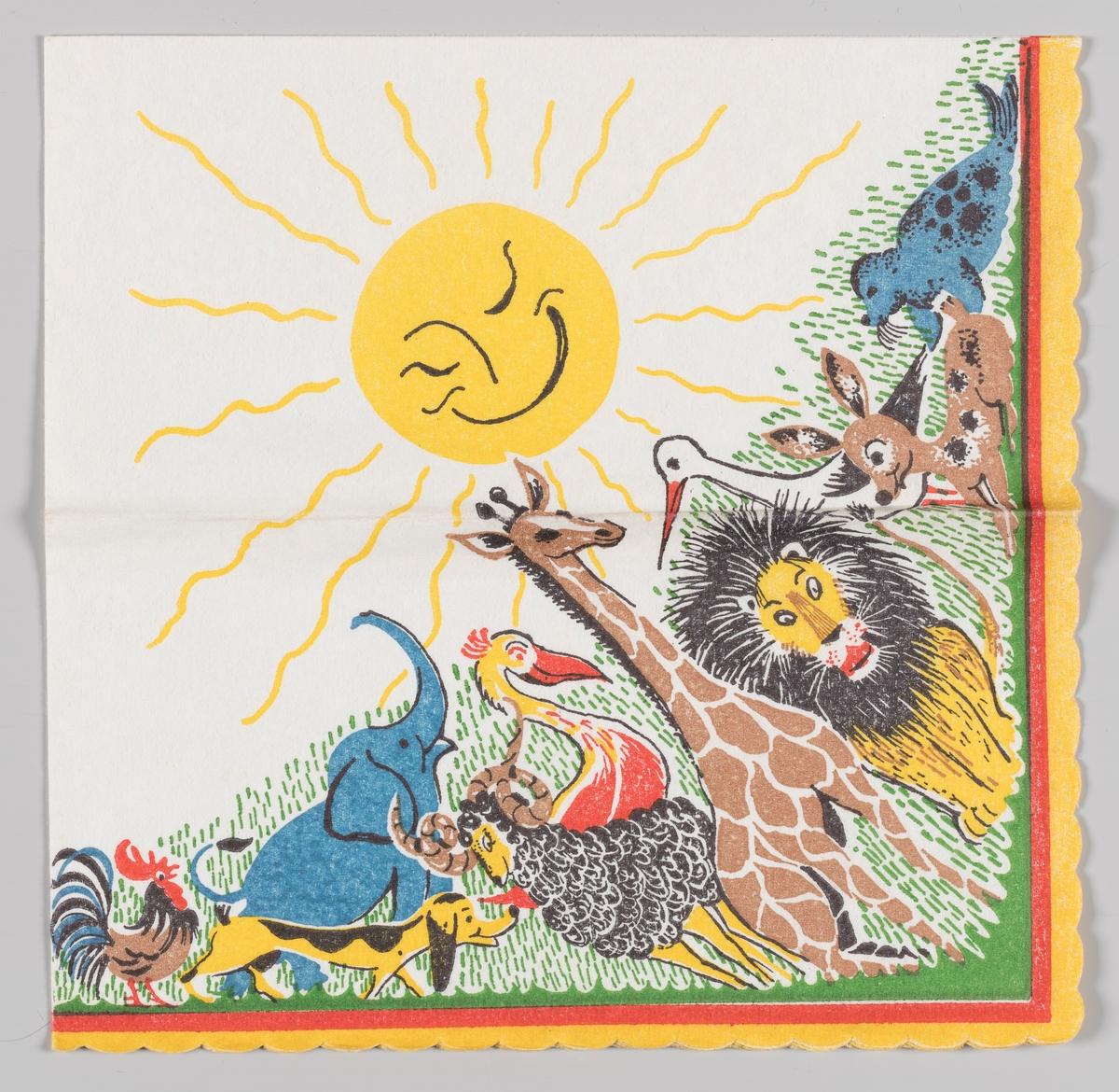 En smilende sol kigger ned på mange dyr: en hane, en elefant, en hund, en geit, en pelikan, en sjiraff, en løve, en stork, en hjort og en sel.