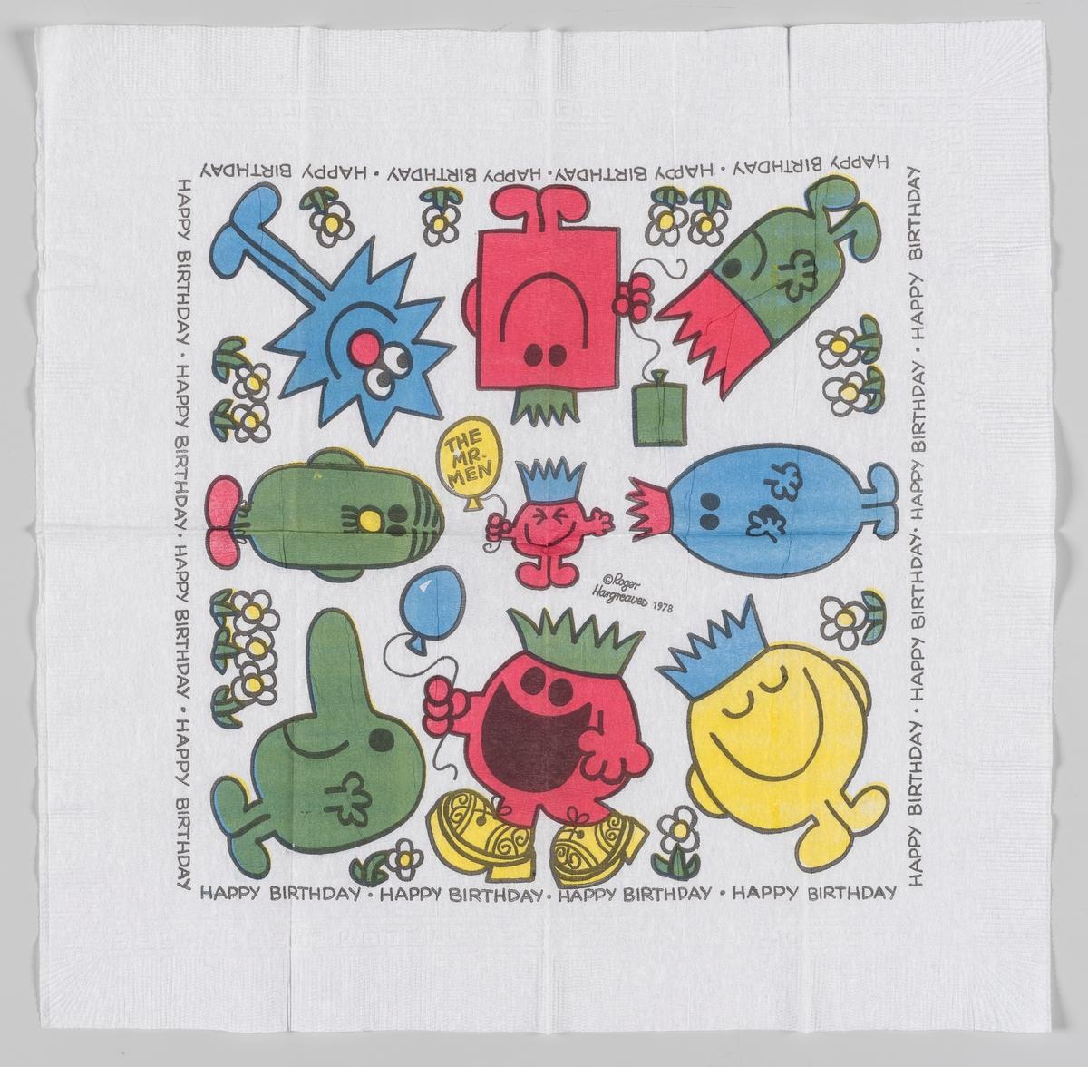 Mange figurer uten krop og med smilende ansikter i forskjellige farger.  Den engelske forfatter og illustratør Roger Hargreaves utga i 1971 serien Mr. Men som er oversatt og solgt til mange land verden over.