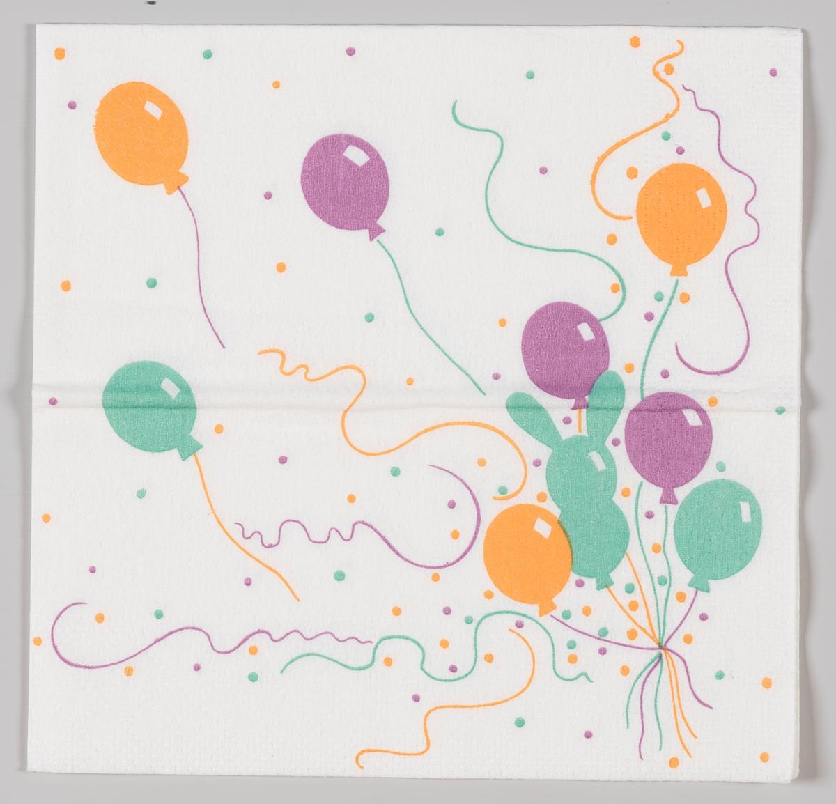 Lilla, oransj og turkis ballonger og konfetti.