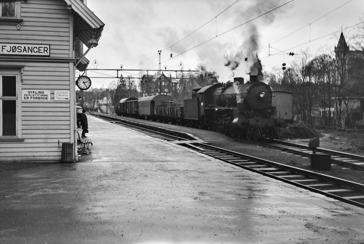 Godstog til Bergen, tog 5515, på Fjøsanger stasjon. Godsoget trekkes av damplokomotiv type 31b nr. 426.