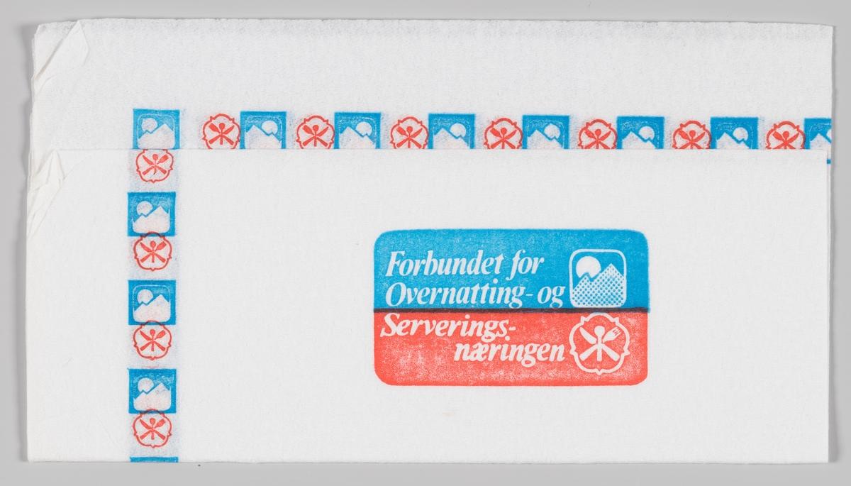 Logoer langs kanten for Forbundet for Overnatting - og Serveringsnæringen.  Samme reklame på serveitt MIA.00007-004-0048 og MIA.00007-004-0050.