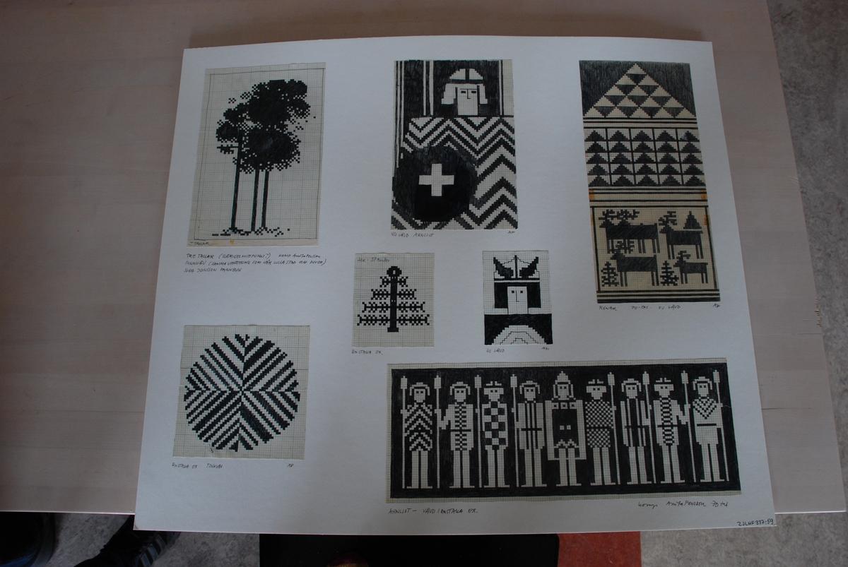 Skisser till finnvävar komponerade av Anita Persson.