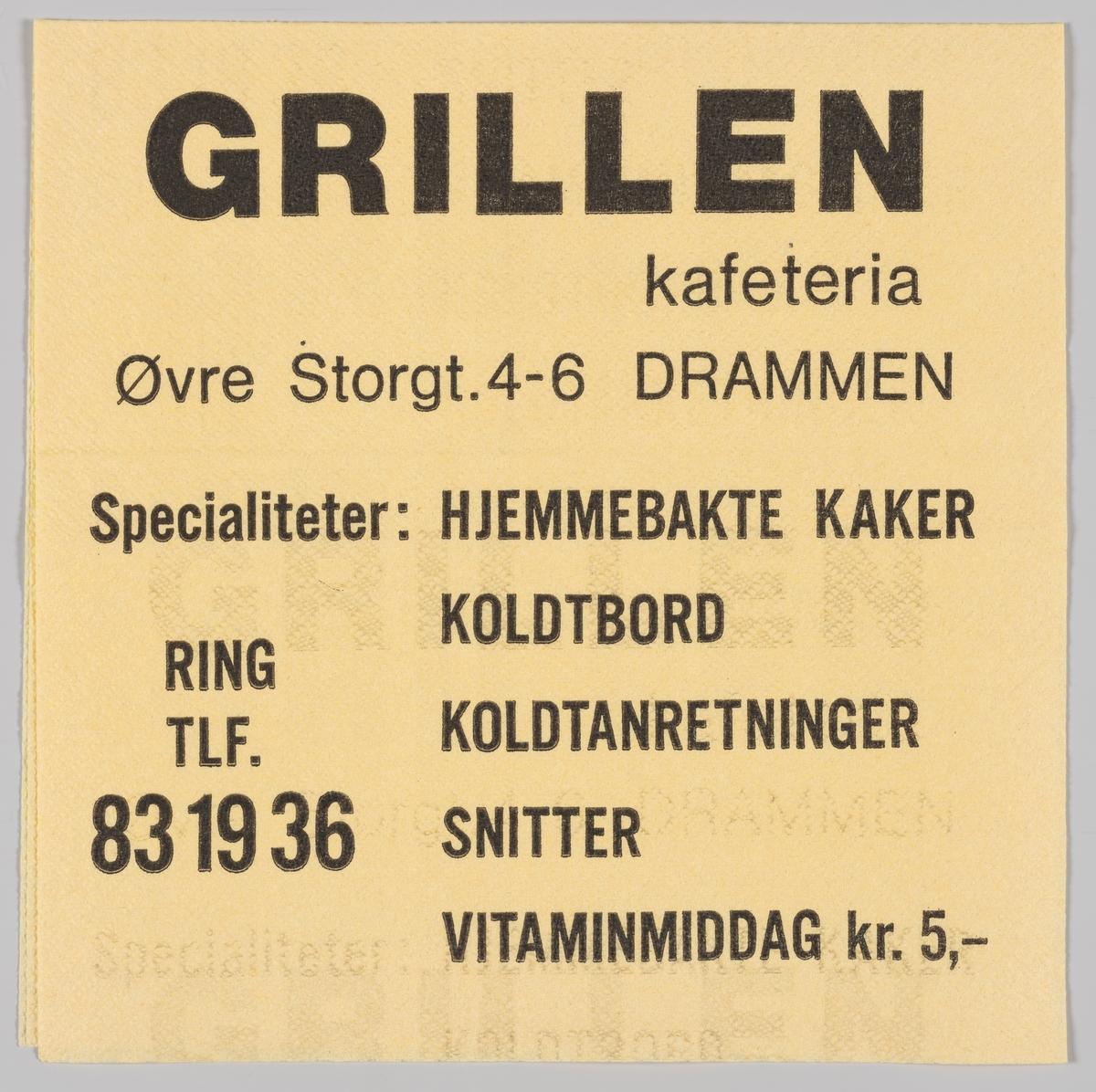 En reklametekst for Grillen kafeteria i Drammen.
