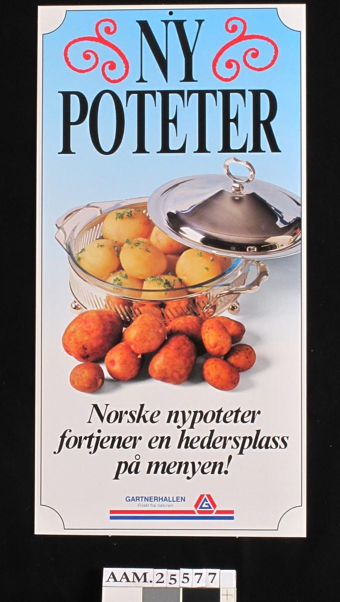 I forgr. rå, uskrelte poteter, bak sølvterrin m.kokte poteter.