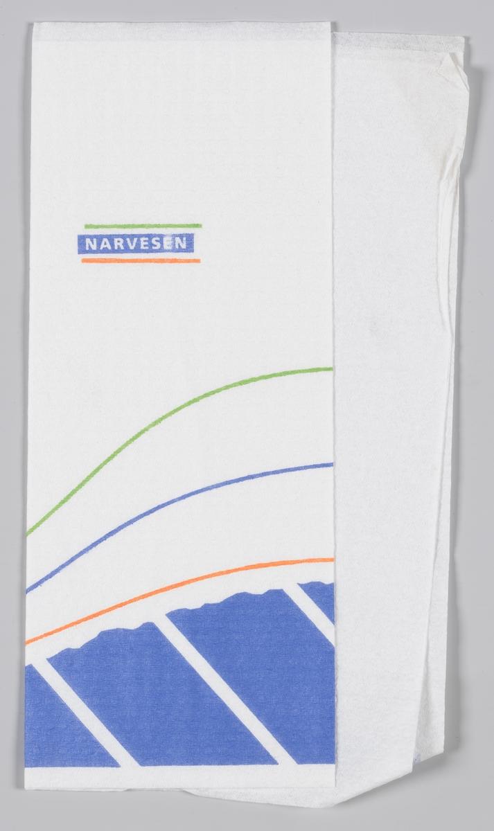 Et bølget mønster og en reklametekst for Narvesen.   Narvesen ble etablert i 1894 av Johan Bertrand Narvesen og har vært en viktig servicebedrift i mer enn 100 år. Kjeden er i dag eid av Reitan Convenience, et av de fire forretningsområdene i Reitangruppen. 370 Narvesenkiosker finnes i Norge,  Samme reklame på MIA.00007-004-0179; MIA.00007-004-0181.