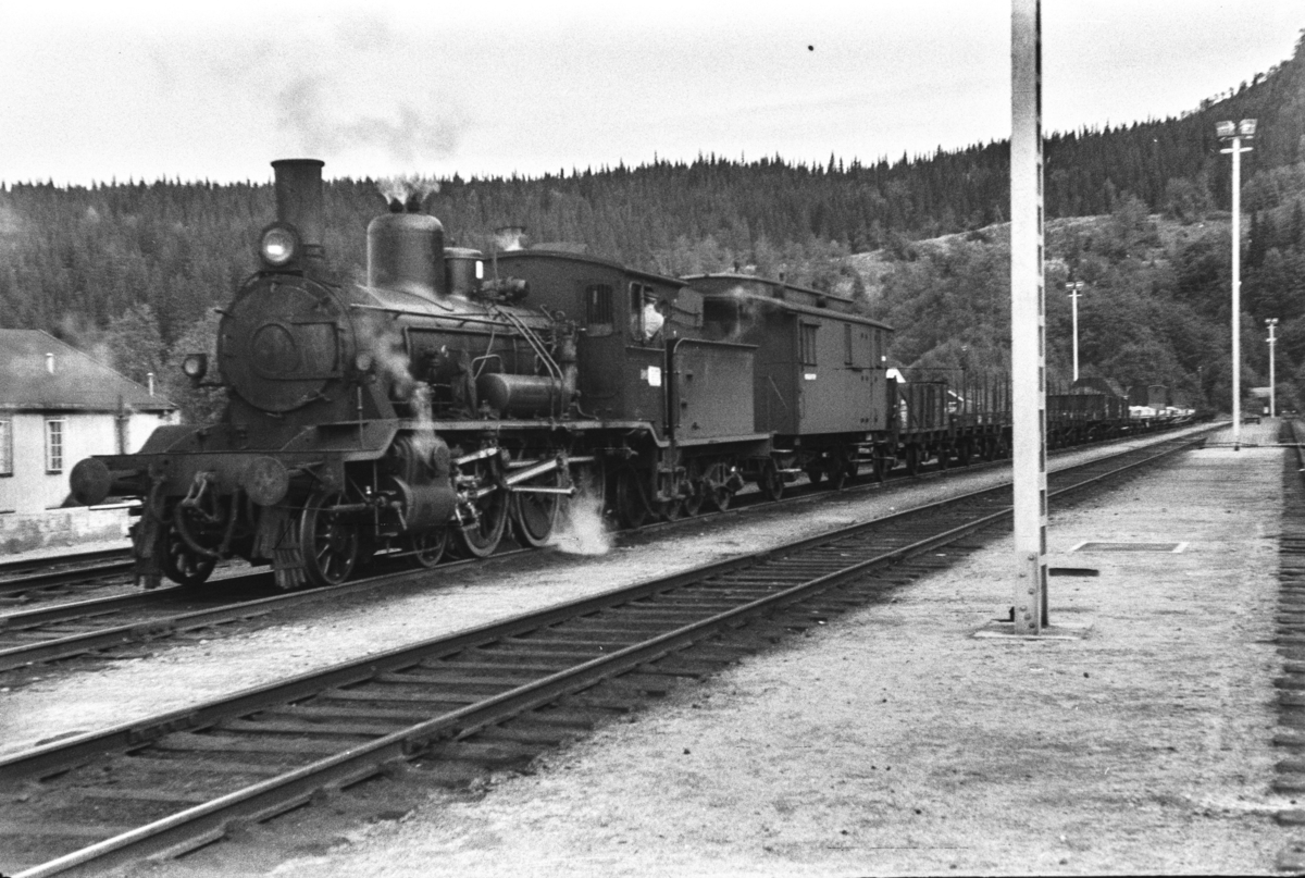 Damplokomotiv type 18c nr. 246 med godstog til Namsos på Grong stasjon.