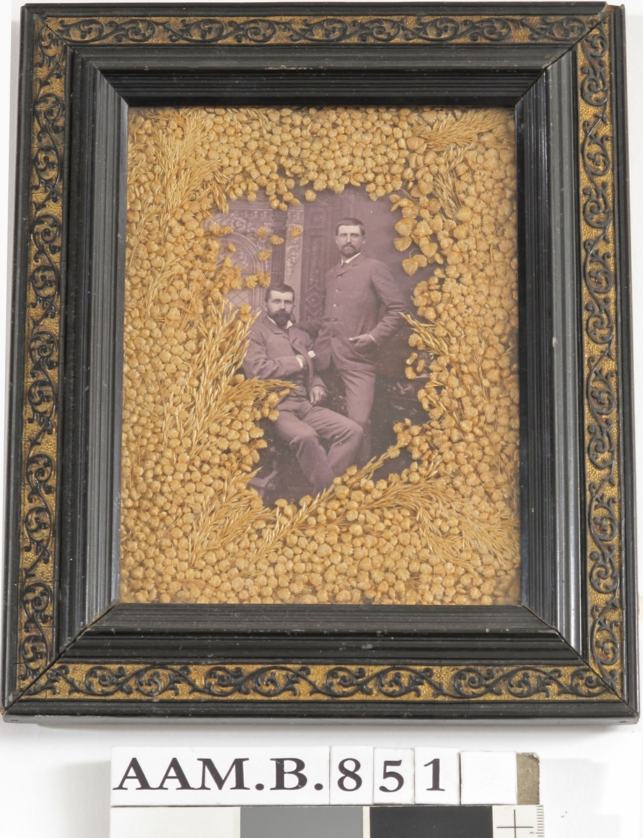 Portrett av brødrene Peter og Niels Larssen,  Slustrup, ca. 1890.  Tv. en sittende ung mann med v. hånd inn under vesten, th. en stående ung mann med h. hånd i jakkelommen og  v. på den annens skulder.  Innenfor glasset gulbrunt strå som dekker billedflaten  rundt de portretterte. Sort ramme med en sort rankebord  på gullgrunn.