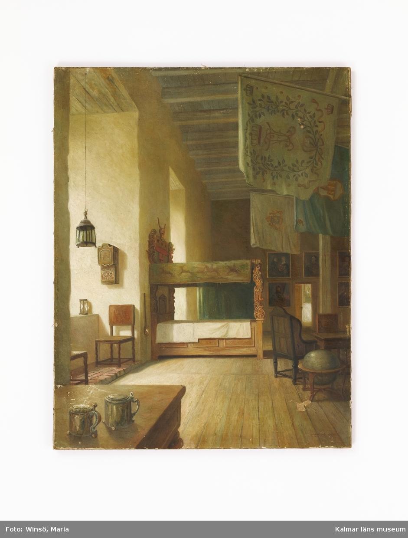 Interiör från Gröna salen på Kalmar slott, en uppställning med museiföremål.