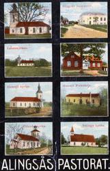Vykort med bilder av skolor och kyrkor, Alingsås pastorat.