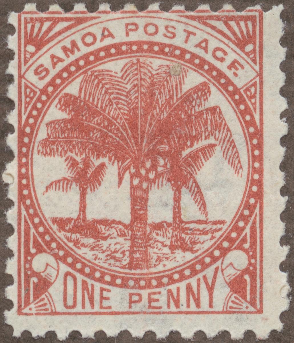 Frimärke ur Gösta Bodmans filatelistiska motivsamling, påbörjad 1950. Frimärke från Samoa, 1899. Motiv av kokospalmer med frukter.