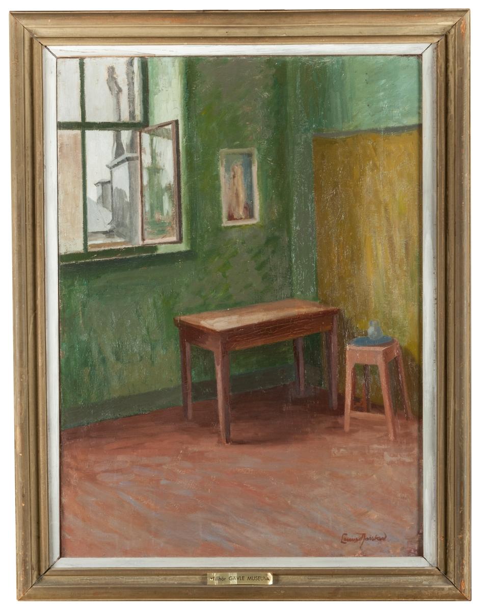"""Oljemålning, på duk, """"Ateljéinteriör"""" av Lennart Jarstad."""