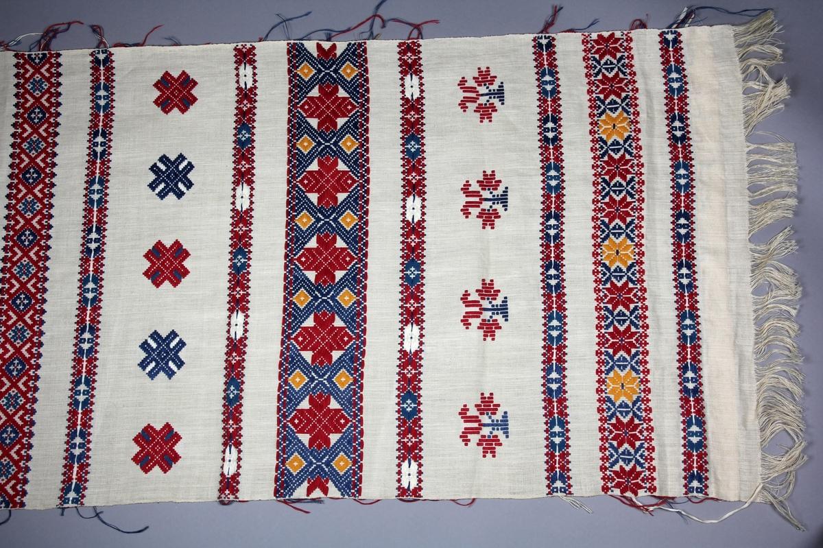 Hängkläde, handvävt, med linvarp och inslag i lin, bomull och silke. Botten i tuskaft, plockade bårder i rött, två toner blått, gult och vitt. Bårder med rutmönster och stjärnor, två bårder med växtornament. Kopia av NM.0038623 från Blekinge.
