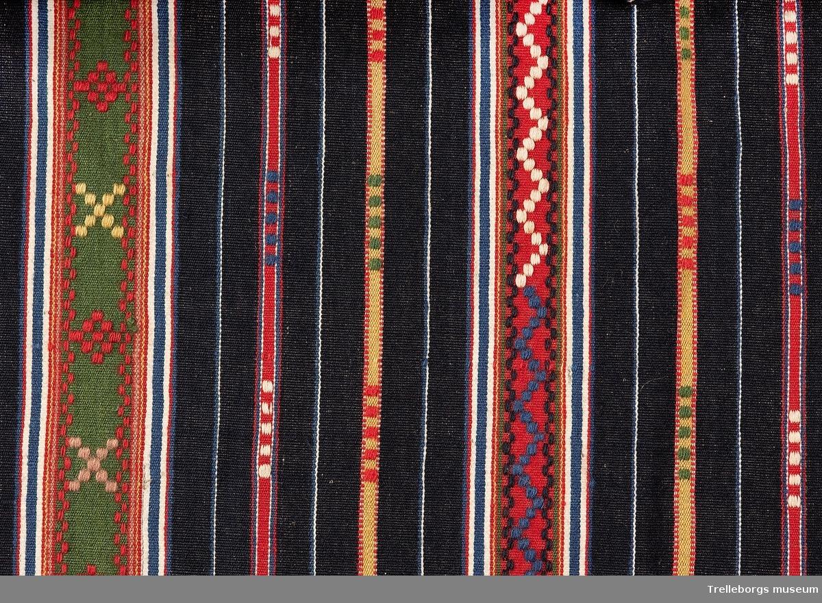 Förkläde till av halvylle, i detta fallet är varpen av lin och inslaget av ull.  Förklädet är randigt på mörkblå botten. Ränderna är i klara färger, rött, gult, blått och vitt och är olika breda. De bredare är mönstrade med munkabälte. Det vita inslaget är av bomullsgarn.  Upptill är förklädet lagt i veck mot ett 1,5 cm brett mönstervävt band av mörkblått bomullsgarn och rött ullgarn. Banden går ut som knytband i sidorna, båda banden är 134 cm långa, inklusive tofs.