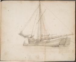 Skute og robåt [Tegning]