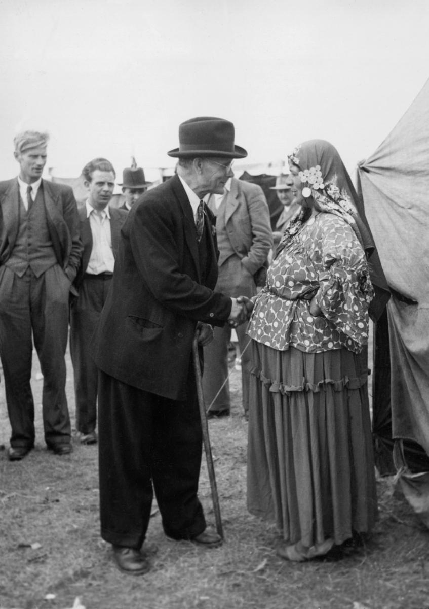 En äldre man tar i hand med en romsk kvinna som är spådam på Kiviks marknad. Kvinnan har en sjal på huvudet med traditionella smycken. Att spå har historiskt varit ett sätt att försörja sig för många romer, särskilt vid tillställningar som marknader eller firande. Historiskt har romer använt sig av såväl tarotkort som tenn för att sia om framtiden, men även spått i händer.
