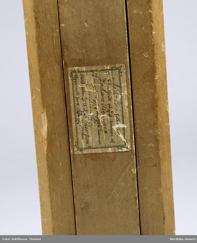 Klädhängare av trä för att fästa på väggen.  Rektangulärt stycke som fästes på vägg, på denna sitter en T-formad utfällbar arm på vilken tvärarmen är galgformad. Tvärarmen och fästet sammanfogade med en metallsprint. Etikett från tillverkningstillfället fäst på den utfällbara armen. Prislapp från försäljning i antikhandeln fäst på baksidan. Har inte monterats då hål för detta saknas. /Fiffi Myrström, 2014-01-17.