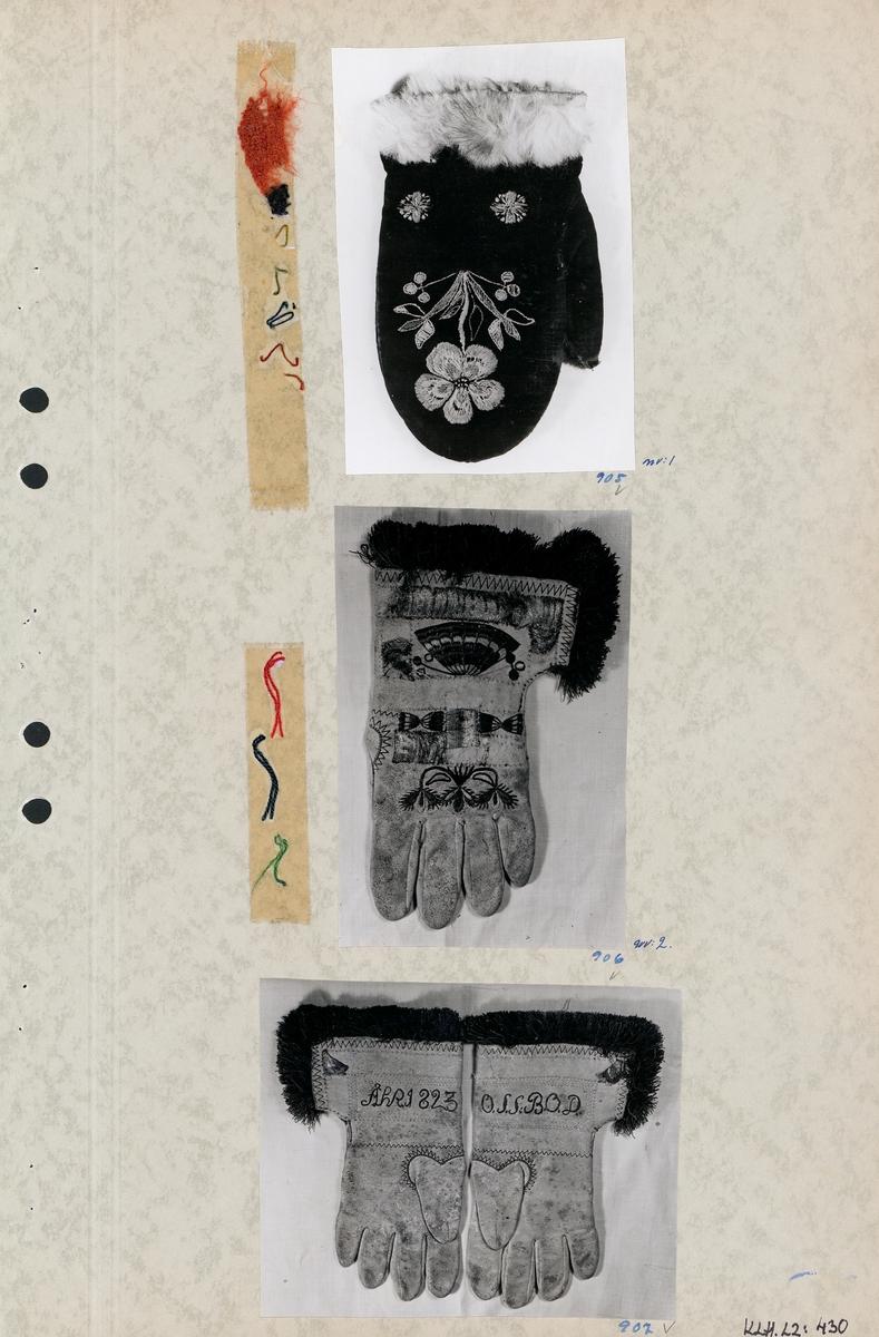 Kartongark med ett foto av vante och två foton av handskar.