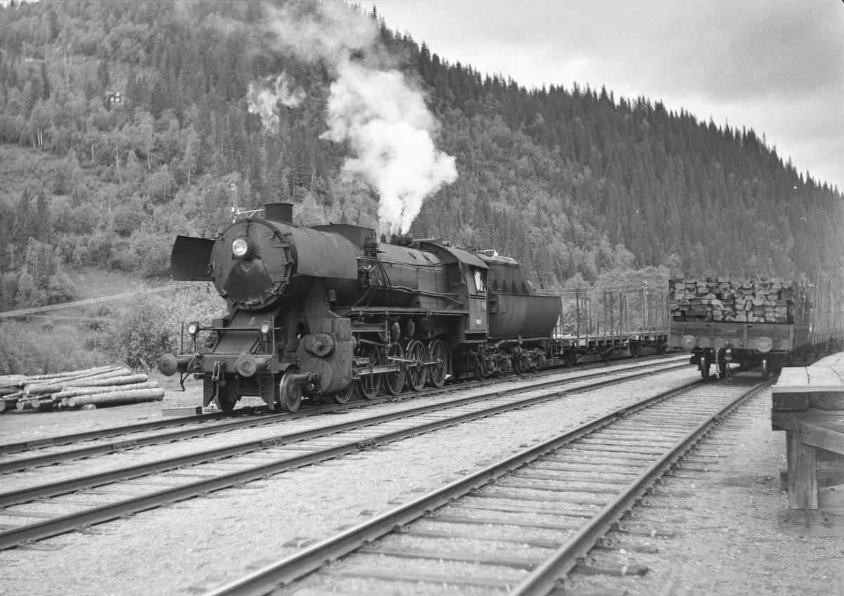 Underveisgodstoget fra Trondheim til Hamar over Røros, tog 5712, skifter på Kotsøy stasjon. Toget trekkes av damplokomotiv type 63a nr 5860.