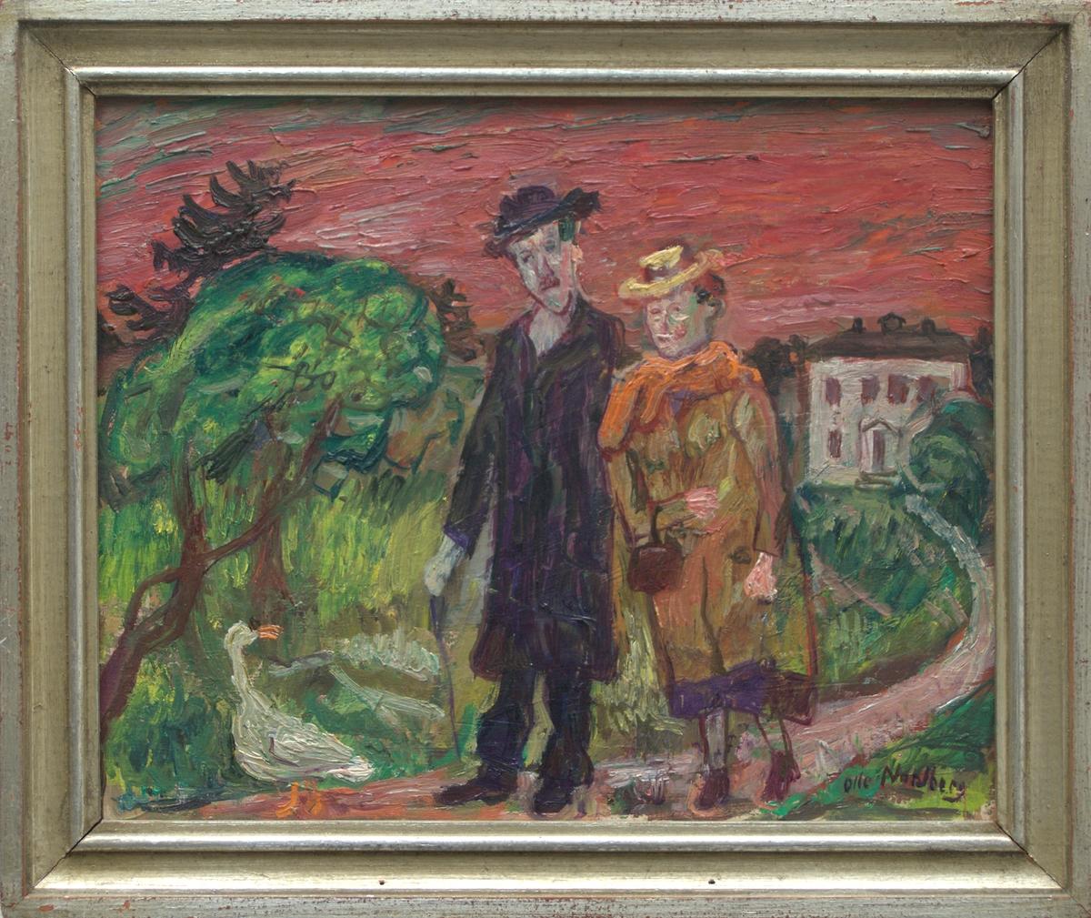 Oljemålning på pannå. Föreställer ett promenerande par på väg som leder från en vit byggnad. Till vänster träd och en svan. Profilerad silvermålad ram.