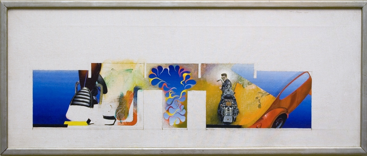 """Oljemålning av John E Franzén, """"Förslag  till utsmyckning"""" 1969. Förslag till vägutsmyckning med urtag för dörrar och takbjälkar. Dekorativa figurer samt motorcyklist och motorcykeldetaljer."""
