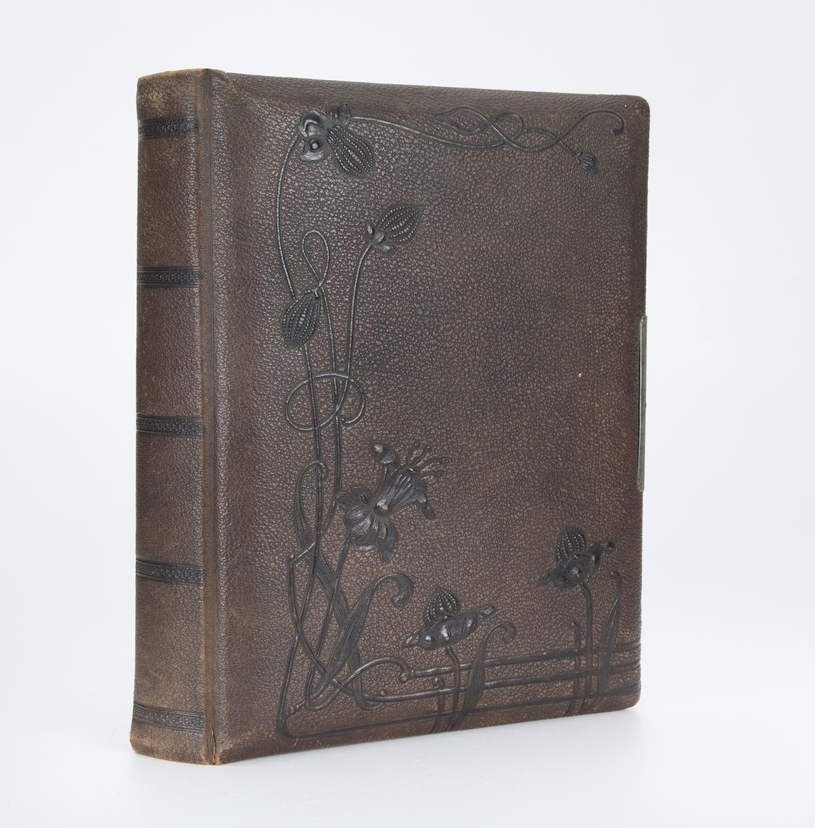 Skinntrukket. Album tilhørt Haakon Ødegaarden, født 1884 Frogn – død 30/9 1963 Frogn. Bosatt Lille Glosli – Frogn. Han var kasserer i Frogn Sparebank. «Testamentarisk gave til Follo Historie og museumslag».