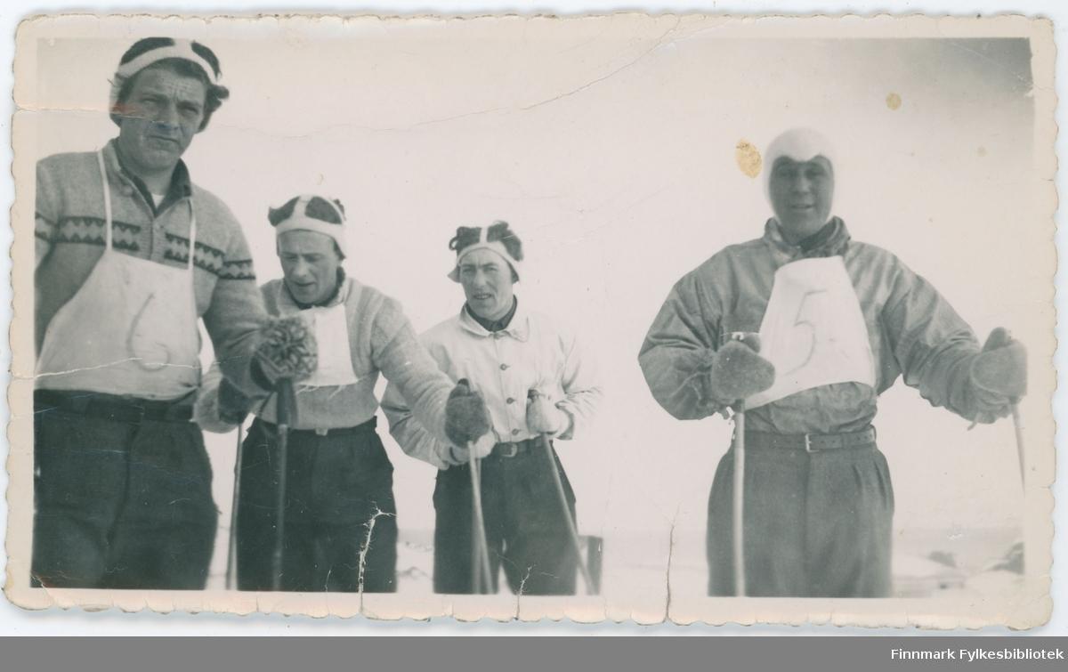 Fire menn på ski-konkurranse. Nordvågen eller Børselv?