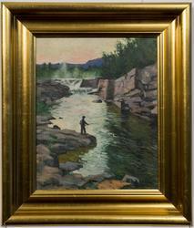 Maleri av Ivar Sælø. Fra Jakobselva I. Fisker i elva